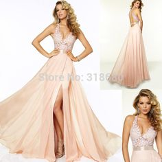 Find More Prom Dresses Information about Custom Made V neckline Sheer Lace Bodice High Slit Sexy Party Dress Blush Pink Flowing Chiffon Long Dresses 2015 Prom Dresses,High Quality dress wedding,China dress bustier Suppliers, Cheap dress up girls dresses from Suzhou Elisha Bridal Dress on Aliexpress.com