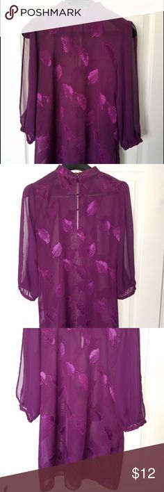 I Love H81 Purple shear material with intricate leaf detail designs throughout dress. Arm slits (shoulder to elbow length). Great condition. Never worn I Love H81 Dresses Mini