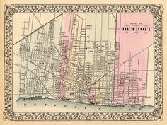 Antique Detroit mapa da cidade de Impressão