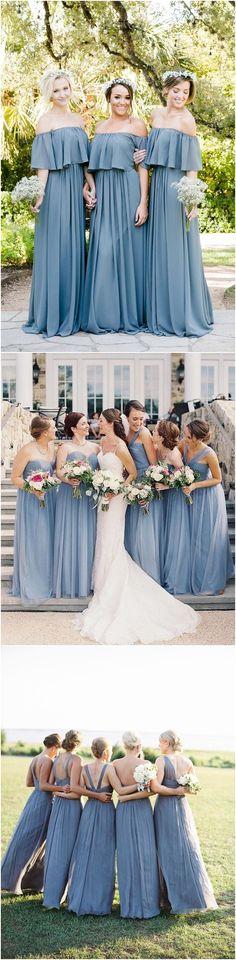 Dusty blue bridesmaid dresses#weddings #dresses #weddingideas #bridesmaids #blue❤️ http://www.deerpearlflowers.com/bridesmaid-dress-trends-for-2018/