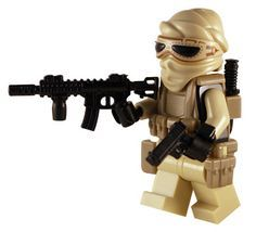 Desert Warrior - Custom Lego Minifig, complete with headwrap, assault rifle, pistol and knife.