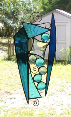 Abstract Stained Glass Suncatcher with by StainedGlassAndMore, $34.99