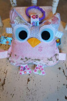 Baby girl toy Owl toy Huggable baby owl crinkle by Sassydoodlebaby, $14.00