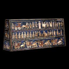 Estandarte de Ur (Período dinástico arcaico, nácar y lapislázuli sobre madera, Cementerio Real de Ur, h. 2550 - 2400 a.C, Londres, Brittish Museum) Arte sumerio