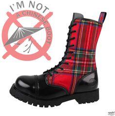 topánky NEVERMIND - 10 dierkové - Black / Red Tartan