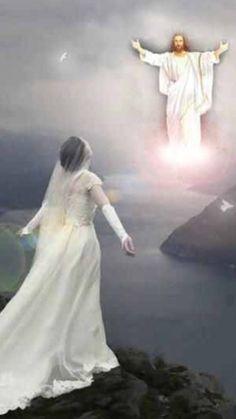 "Bride of Christ and Jesus in heaven. The spirit and the Bride say ""come""! Jesus Our Savior, Jesus Art, Jesus Is Lord, Braut Christi, Immaculée Conception, Evening Prayer, Pictures Of Jesus Christ, Jesus Christus, Saint Esprit"