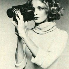 Jessica Lange in a Viva Magazine ad, selling a camera, 1976.