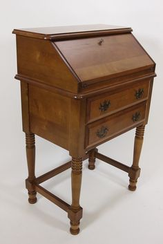 Maple 2-Drawer Secretary Petite Desk With Fold-Out Door Early American Furniture