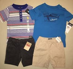 BOYS 2 2T LOT OF 4 US POLO ASSC CHAPS SHIRT LEVIS TCP SHORTS SET OUTFIT NWT