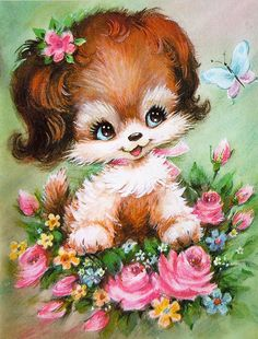 Vintage painting of a puppy Vintage Birthday Cards, Vintage Greeting Cards, Vintage Postcards, Images Vintage, Vintage Pictures, Cute Pictures, Vintage Illustration, Dog Illustration, Animal Drawings