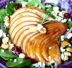 roasted pear salad with rosemary vinaigrette. You must try this salad!