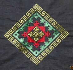This is the motif which I have embroidered for the border for a kurti. I have used three strands of anchor embroidery cotton thread. Kasuti Embroidery, Hand Embroidery Stitches, Embroidery Patches, Hand Embroidery Designs, Motifs Blackwork, Kutch Work Designs, Stitch Patterns, Needlework, Cross Stitch