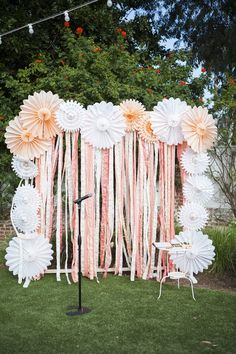 Tissue paper fan..instead of streamers substitute gray chevron fabric...fun photo backdrop