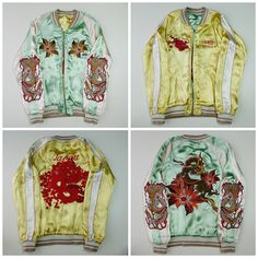 Japanese Vintage Mint Green Yellow Flower Dragon Ryu Embroidery Embroidered Satin Souvenir Sukajan Jacket - Japan Lover Me Store