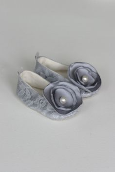 Baby Shoes  Baby Ballet Slippers  Silver Lace by revolutionarysoul, $30.00