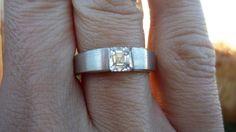 Men's asscher-cut diamond ring - hand shot