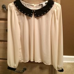 Beaded black and cream top This top has just the right embellishments and details. It's very dressy but yet can be casual and funky too Forever 21 Tops