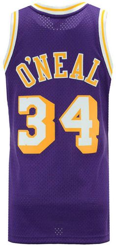 32a199270e4 Mitchell  amp  Ness Men s Shaquille O Neal Los Angeles Lakers Hardwood  Classic Swingman Jersey