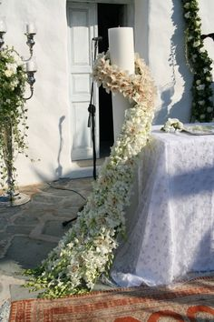 That will let wonderful Sacred Solidarity Candles for usage in weddings as a type of expression of devotion and concord. Santorini Wedding, Greece Wedding, Aisle Flowers, Wedding Flowers, Wedding Dresses, Grecian Wedding, Dream Wedding, Greek Wedding Traditions, Church Wedding Decorations