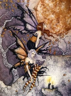 Night Flyers by Amy Brown - The Faerie Folk Amy Brown Fairies, Fairy Pictures, Love Fairy, Mystique, Beautiful Fairies, Fairy Art, Magical Creatures, Faeries, Fantasy Art