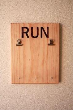 Wooden Runner's Bib and Medal Display, Race Bib Display, Woodburned letters by WoodandGrainDesigns on Etsy https://www.etsy.com/listing/227071578/wooden-runners-bib-and-medal-display