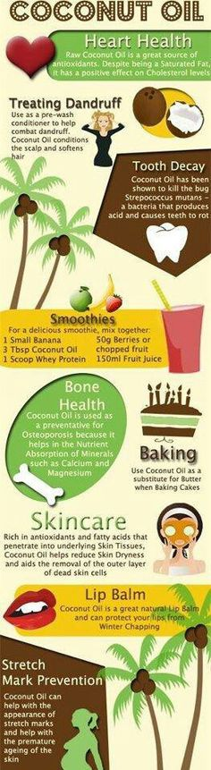 Coconut Oil - Info over kokosolie 9 Reasons to Use Coconut Oil Daily Coconut Oil Will Set You Free — and Improve Your Health!Coconut Oil Fuels Your Metabolism! Raw Coconut, Coconut Oil Uses, Benefits Of Coconut Oil, Oil Benefits, Health Benefits, Healthy Tips, Healthy Snacks, Healthy Recipes, Healthy Options