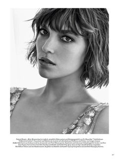 fashion editorials, shows, campaigns & more!: muse: arizona muse by kacper kasprzyk for harper's bazaar germany may 2015 Short Hair With Bangs, Hairstyles With Bangs, Short Hair Styles, Beauty Editorial, Editorial Fashion, Hair Inspo, Hair Inspiration, Tousled Bob, Pelo Bob
