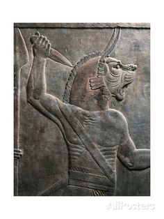 Detail of Relief Depicting Figure of Guardian Lion, from Ancient Nineveh, Iraq Giclee Print at AllPosters.com