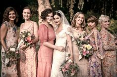 bridesmaids have different patterned dresses- just skip with some color scheme.