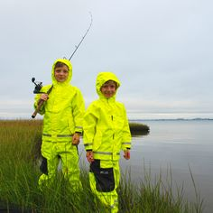 Children's Weather Watch Sport Fishing Jacket Hi-Vis Weather Watch, Fishing Outfits, Rain Wear, Mud, Hooded Jacket, Camping, Yellow, Jackets, Crowns