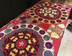 Yellow TASSEL Vintage Suzani Blanket Colorful Handmade Suzani Bedspread - Suzani Table Cover - Wall Hanging - Suzani Fabric - Suzani Bedding by istanbulcarpet on Etsy