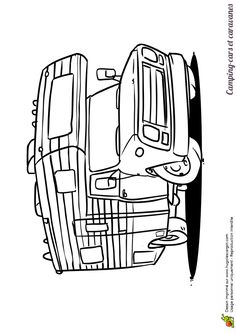 Petit camping car moderne colorier par des enfants coloriages de camions pinterest - Camping car a colorier ...