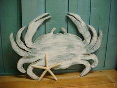 White Crab Sign Wall Art Beach House Coastal by CastawaysHall