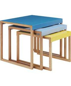 Habitat Kilo Nest of 3 Tables - Blue and Yellow. £59.50
