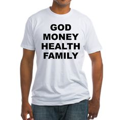 Men's light color white t-shirt with God Money Health Family theme. God Money Health Family is the main order the average person place their values and priorities in. Available in white, natural, pink, baby blue, sunshine yellow; small, medium, large, x-large, 2x-large for only $22.99. Go to the link to purchase the product and to see other options – http://www.cafepress.com/stgmhf