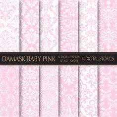 Damask Digital Paper DAMASK BABY PINK digital by DigitalStories, €2.60