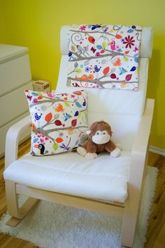 IKEA Poang Rocking Chair, IKEA Hempen Rug and Custom Bedding by ETSY seller dezignzbyliz.