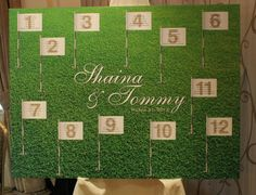 Seating Chart for a Golf Themed Wedding
