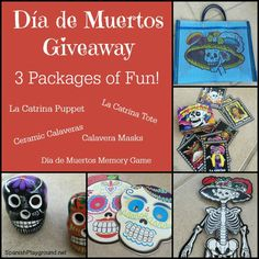 Día de muertos is celebrated with colorful decorations. Enter a giveaway to win traditional ceramic calaveras, masks, a tote bag and more. 3 winners!