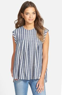 Madewell Inverted Pleat Cap Sleeve Top available at #Nordstrom