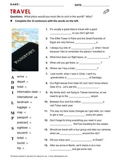 Travel, vocabulary, ESL, English phrases, http://www.allthingstopics.com/travel.html