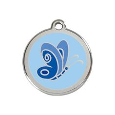 Dog ID Tag, Stainless Steel/Light Blue Enamel Butterfly