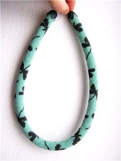 Turquoise Bead Crochet Necklace -Dragonfly- via Etsy.