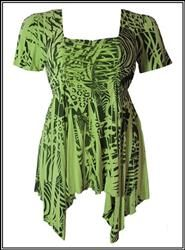 Green and Black Sublimation Pixie-Hem Top $29.99
