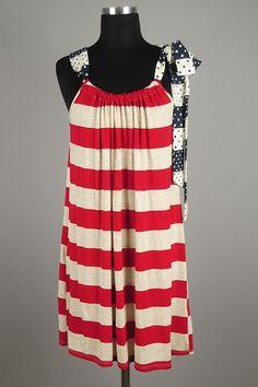 *** New Style *** Flirty Lightweight Knit Tank Dress in Two Tone Stripes Featuring Striped Polka Dot Drawstring Neckline.