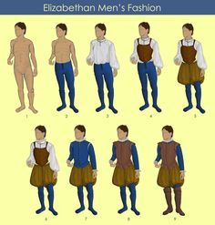 1) model 2) stockings 3) undershirt 4) men's corset 5) breeches 6) neck ruff 7) doublet 8) jerkin 9) boot Around the time that Queen Elizabeth came into power it was popular for men to have a more slender, geometrical shape, and thus the corset.    The model I used for this fashion layout is Null-Entity. http://null-entity.deviantart.com/art/Umbrella-Pose-Closed-04-481646128