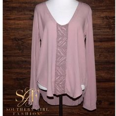 Southern Girl Fashion Tops - BELL SLEEVE TOP Embellished Bohemian Scoop Neck LS