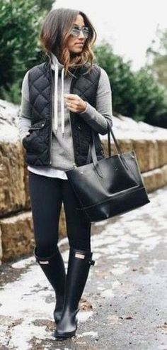 Nice Cute Spring Outfits cute casual outfit for running errands - black puffer vest, grey hoodie, and bla...