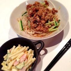 ボーーっと作ってたら、麺とマカロニ!!!! まっ、いっかヽ(´o`; - 30件のもぐもぐ - 汁なし担々麺 そうめんで作ってみました(笑) by kuro0919