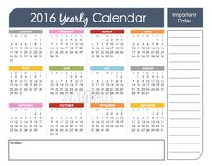 2016 Yearly Calendar Set Printable - Editable, Instant Download